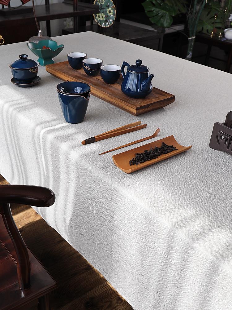 新中式茶席桌布棉麻茶台布禅意纯色书法会议台布长方形布艺中国风