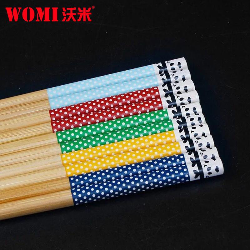 沃米筷子家用防滑竹筷子无漆无蜡竹木家庭装快子5双礼盒餐具套装