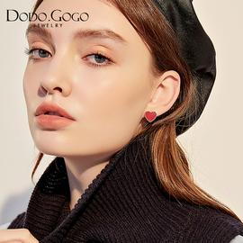 红色爱心耳钉女气质韩国网红耳环东大门耳夹少女心ins不对称耳饰