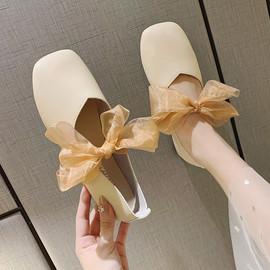 复古罗马单鞋仙女风2020春款平底气质女鞋子夏季浅口系带豆豆鞋潮