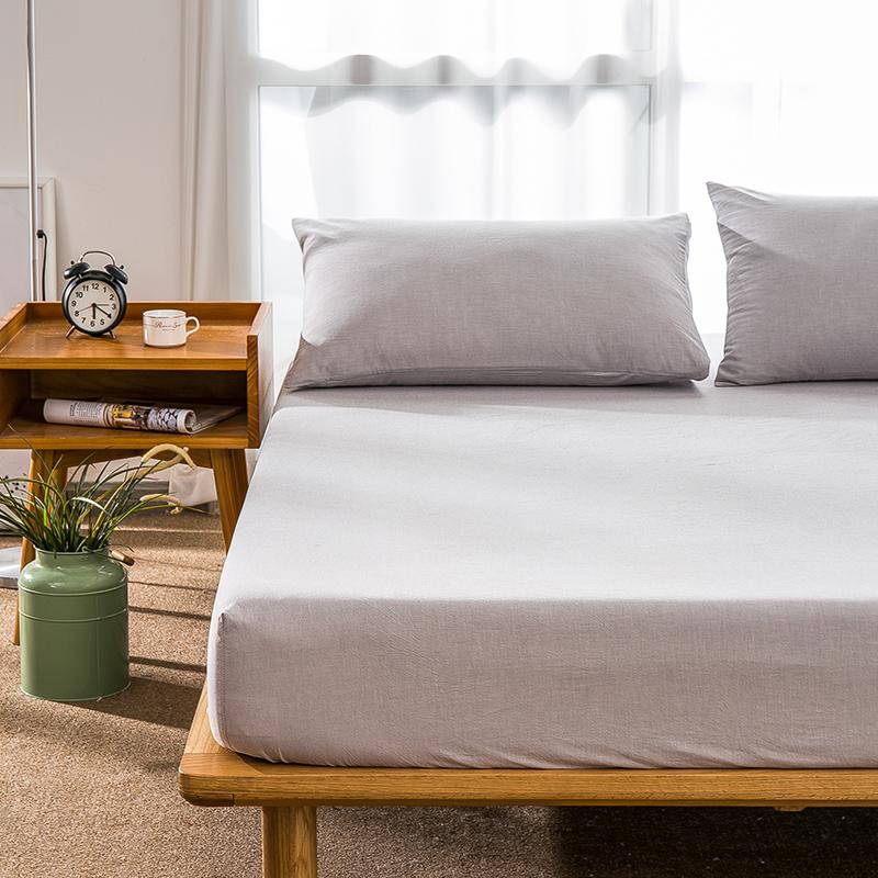 南极人日系风水洗棉床笠单件全棉床罩纯棉双人席梦思床垫保护套