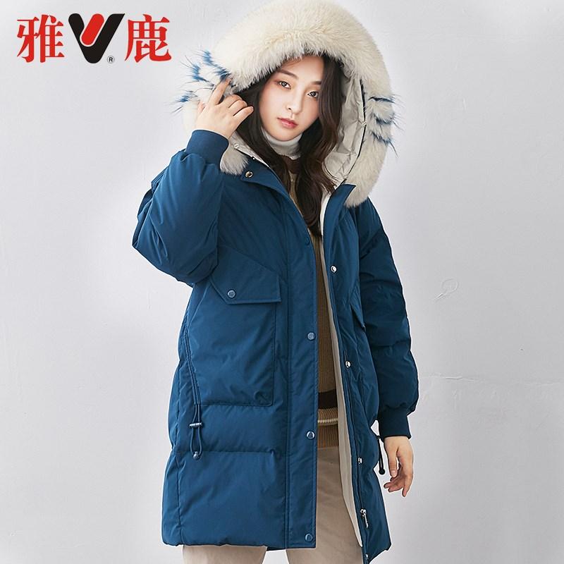SX 2019  雅鹿大毛领绒服女中长款 冬季新品宽松插肩袖加厚外套潮