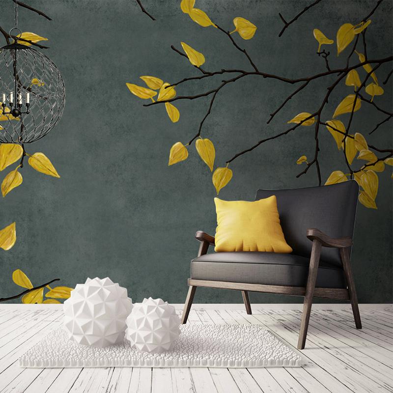 雅心初秋树叶创意手绘大型壁画卧室电视背景墙定制艺术墙纸壁纸