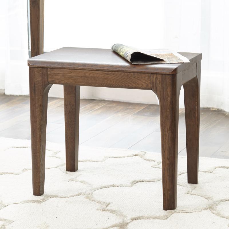 加兰纯实木化妆凳日式红橡木黑胡桃色现代简约梳妆凳小户型矮凳