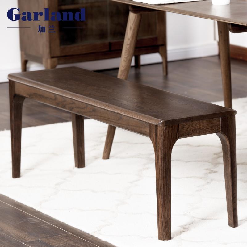 garland加兰新款日式长条凳纯实木餐凳胡桃色床尾凳简约餐厅家具