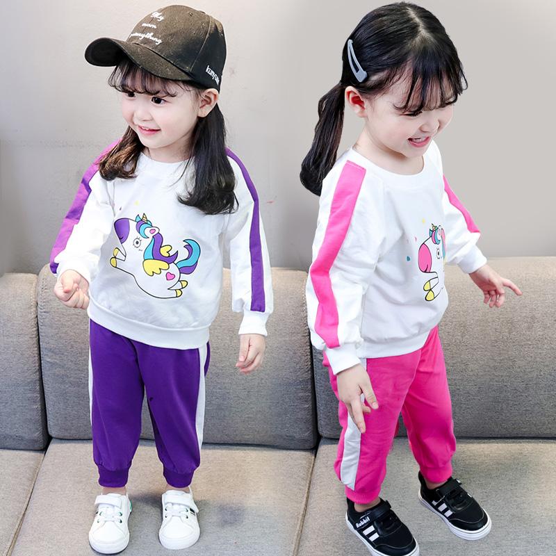 女宝宝秋装2019新款套装1-2-3岁4女童韩版洋气童装儿童春秋两件套