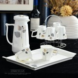 Set cups cup home living room Nordic style tea cup glass teapot set of simple ceramic cup Shuiju