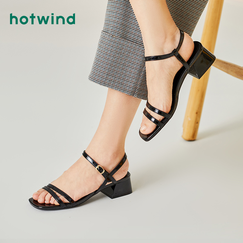 Hotwind/热风黑色凉鞋女粗跟方头2020夏季新款百搭韩版休闲鞋透气优惠券