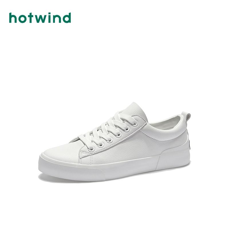 H14M9110 春季新款学生休闲鞋平底 2019 热风白色系带板鞋男士低帮鞋
