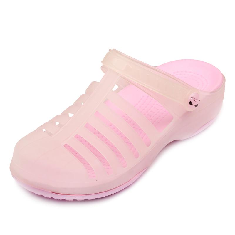 夏季玛丽珍洞洞鞋女防滑厚底沙滩鞋轻便坡跟凉鞋软果冻护士凉拖鞋