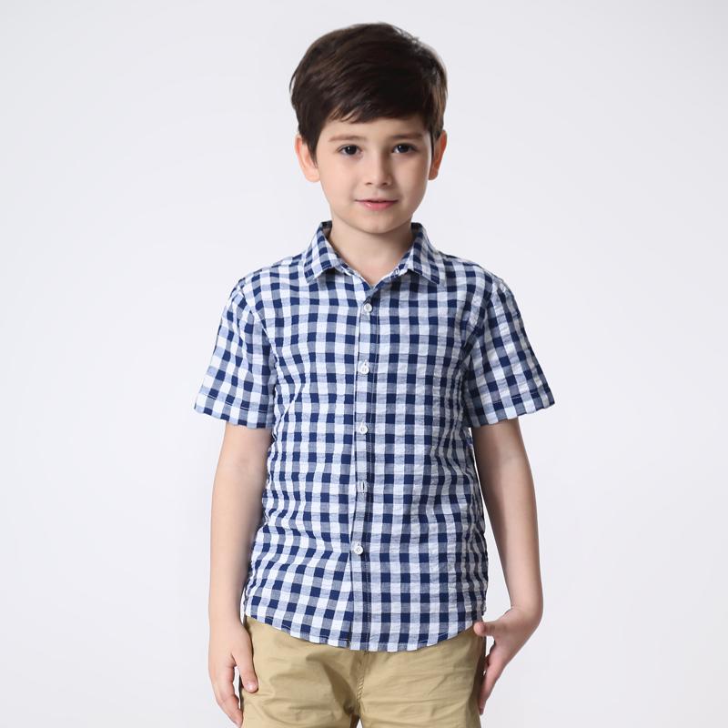 2017新儿童短袖衬衫泡泡格衬衫大中小童休闲百搭衬衣宝宝夏季衬衫