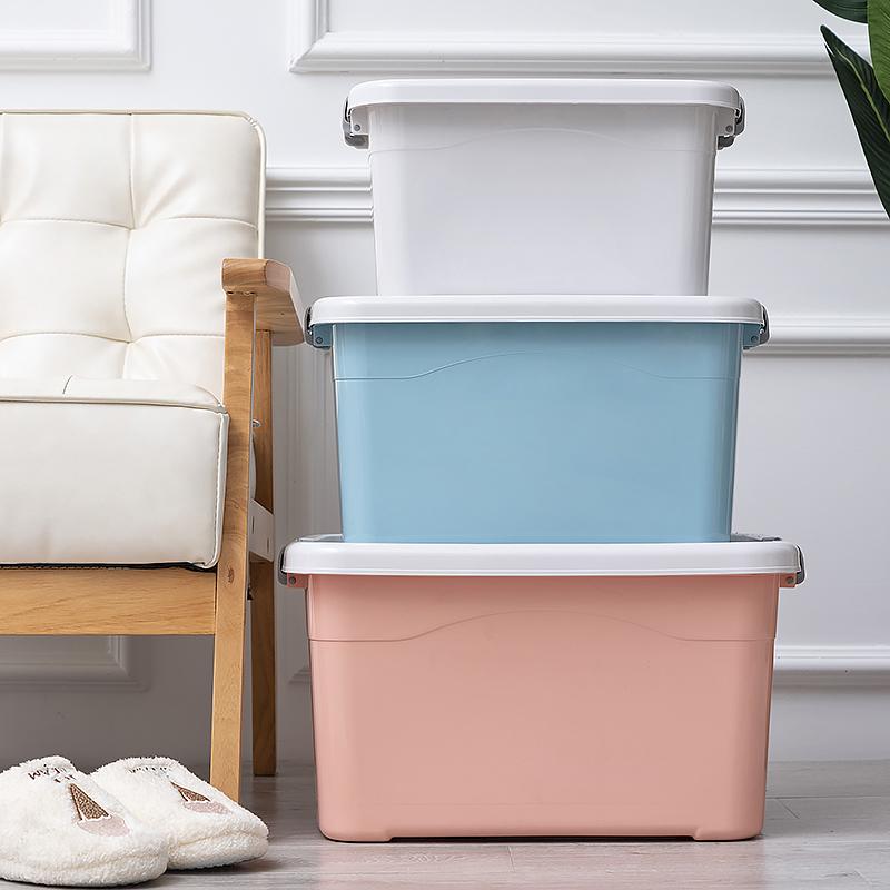 塑料收纳盒加厚特大号粉色带盖衣服儿童玩具储物整理箱收容归纳箱