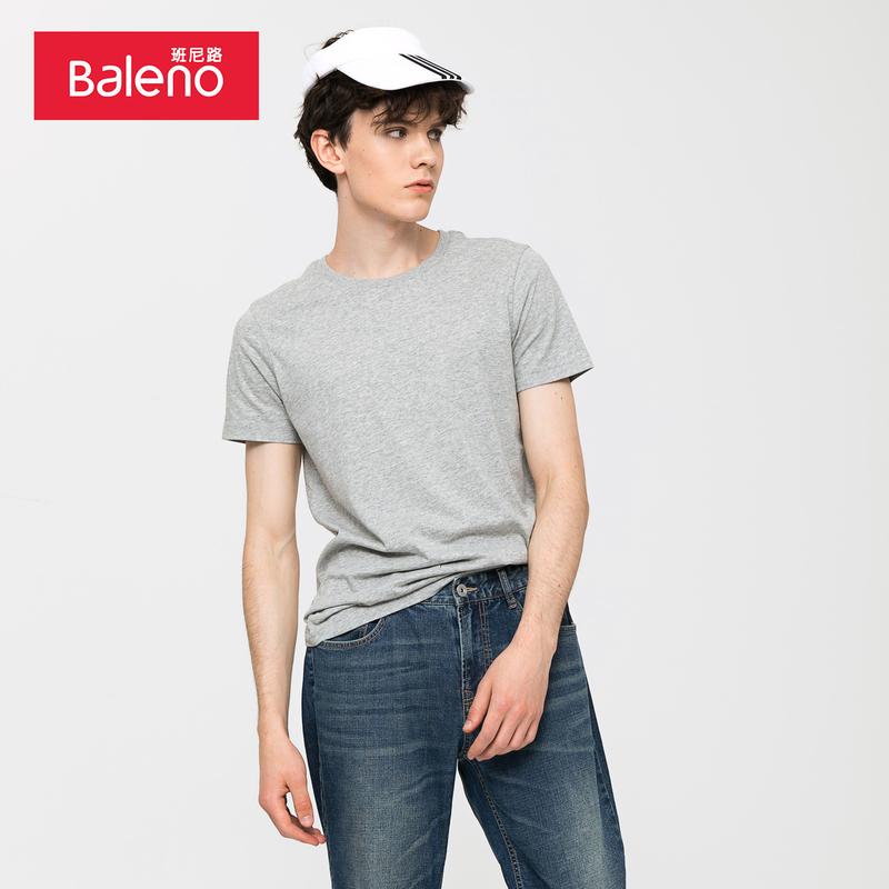 Baleno班尼路 纯色短袖t恤男 白色体恤男士圆领纯棉半袖情侣衫F