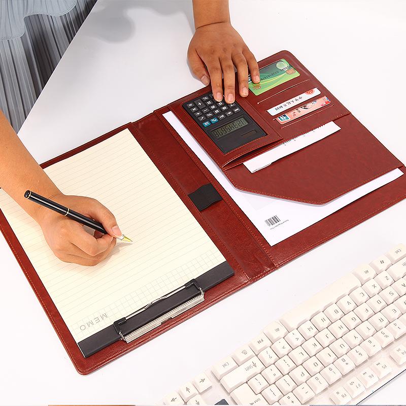 文件夹板夹a4多功能资料夹皮质商务带计算器a5经理夹销售夹合同夹销讲夹量房本写字垫板谈单夹谈单本文件夹板