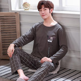 Men's pajamas long-sleeved cotton spring and autumn youth leisure autumn and winter models men's thin section home service suit large size autumn