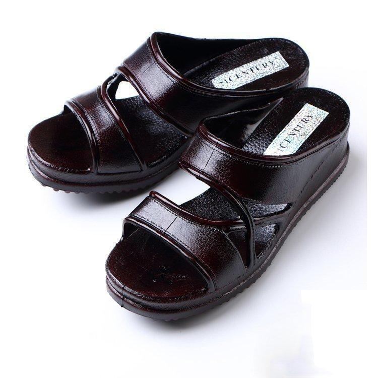女人臺灣21CENTURY中年拖鞋家用夏高跟坡跟外穿成熟媽媽一字涼拖