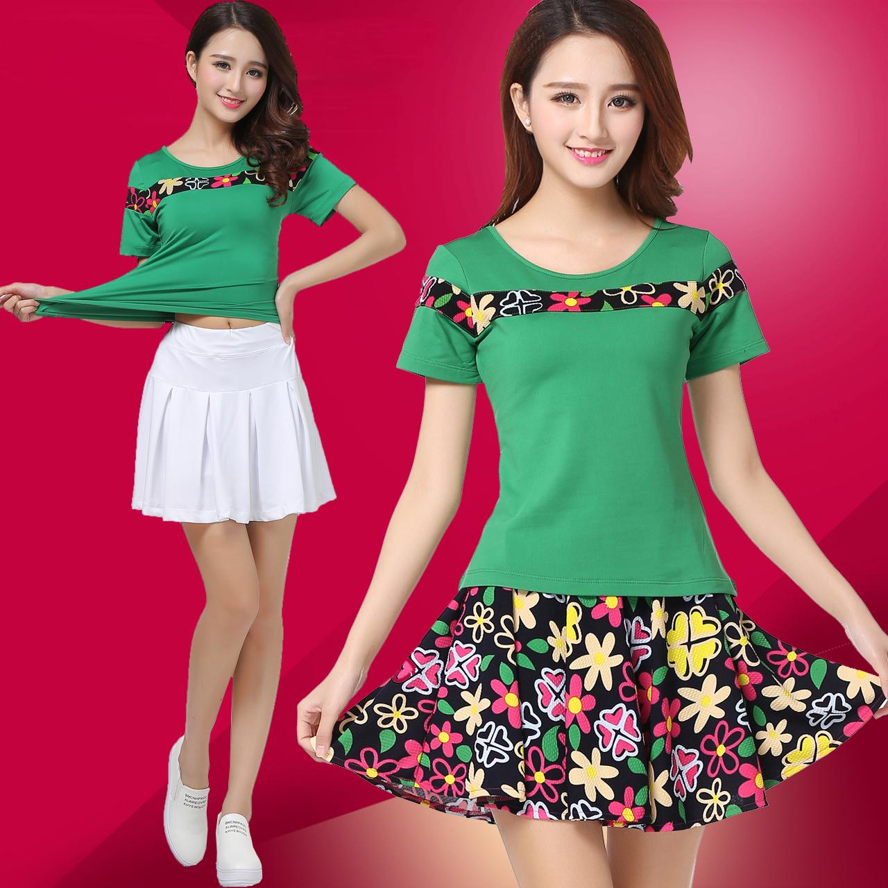 春夏gcw廣場舞服裝新款套裝短袖運動短裙團隊舞蹈演出服小蘋果