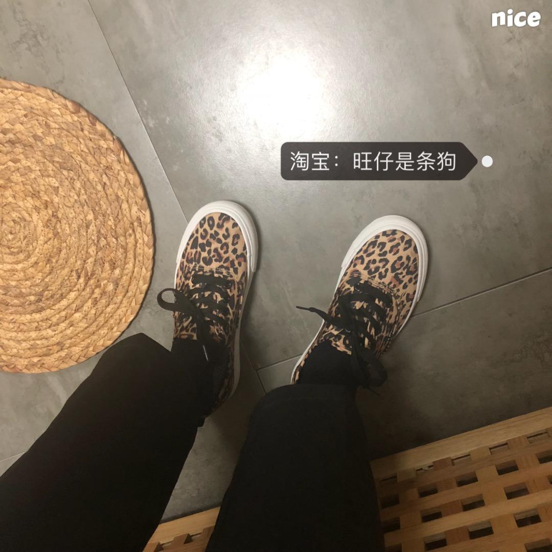 超火潮鞋子 ins 春秋百搭帆布鞋女学生韩风豹纹休闲板鞋 2019 旺仔