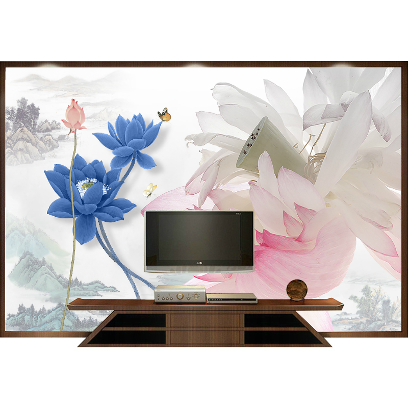 定制创意古典抽象中式水墨荷花壁纸电视沙发背景墙纸手绘艺术壁画