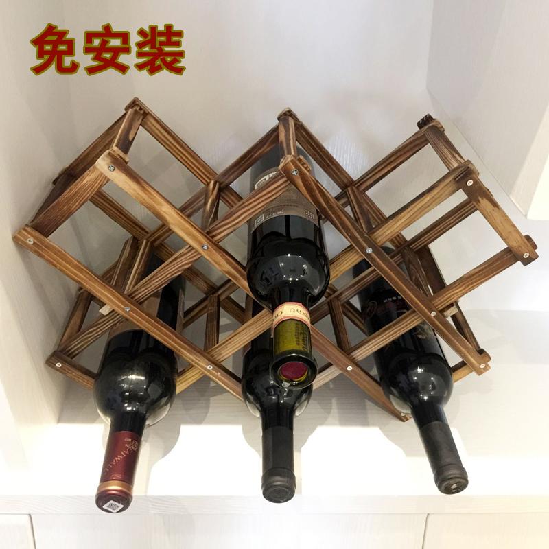 實木碳化紅酒架擺件創意葡萄酒架 家用酒瓶收納架歐式洋酒架包郵