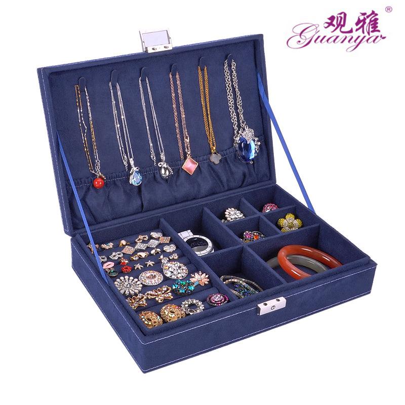 防饰品氧化首饰盒带锁公主欧式木质韩国耳钉耳环珠宝收纳盒简约