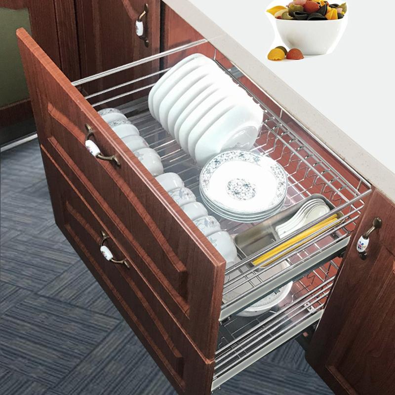 龙海森厨房橱柜拉篮304不锈钢阻尼双层加厚扁钢碗碟拉蓝调味篮