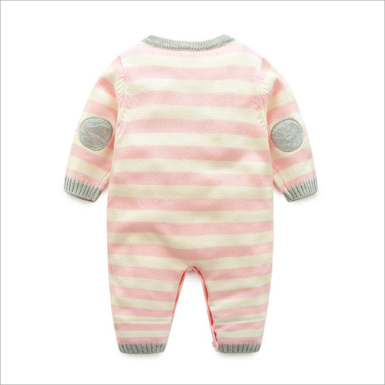 婴儿开春连体衣春秋款女宝宝针织毛线哈衣爬服单层毛衣满月外出服