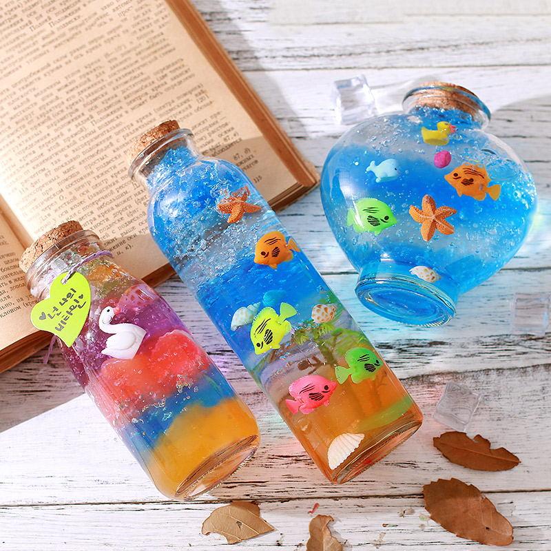 海绵宝宝泡大珠许愿瓶DIY水晶泥玻璃木塞漂流瓶水晶珠彩虹星空瓶