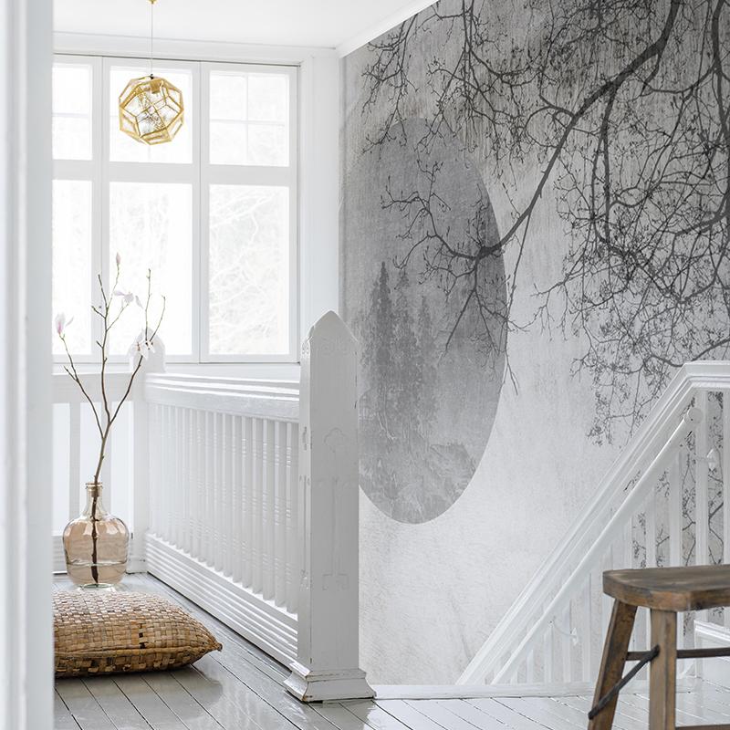 对月 简约现代客厅沙发背景墙纸新中式书房卧室定制壁画 艺速