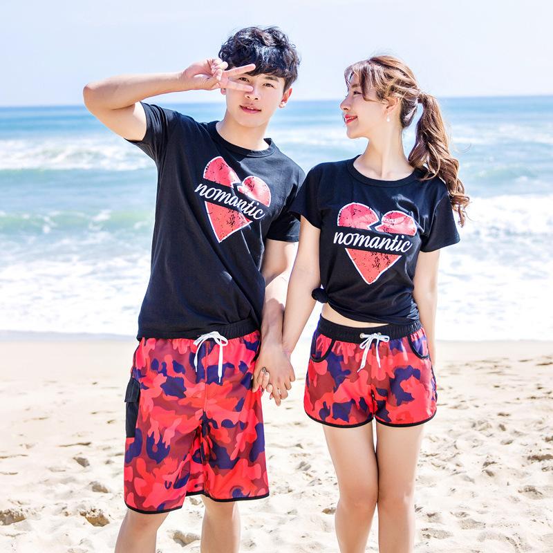 夏季韓版迷彩沙灘褲速幹情侶裝男女款T恤 巴厘島海邊度假旅遊短褲