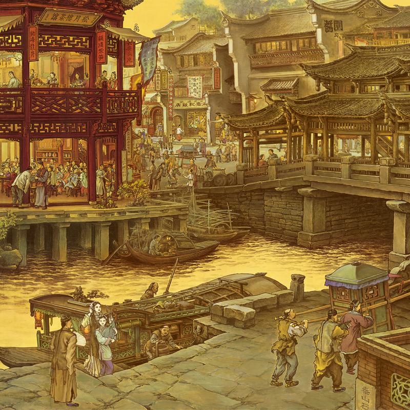 張孝友 南鄉舊夢圖 江南舊夢 國畫山水畫 人物風景 高清納米微噴
