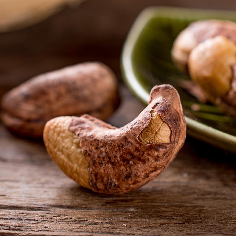 越南进口带皮原味炭烧腰果仁连罐500g分2罐装生烘焙盐焗零食坚果