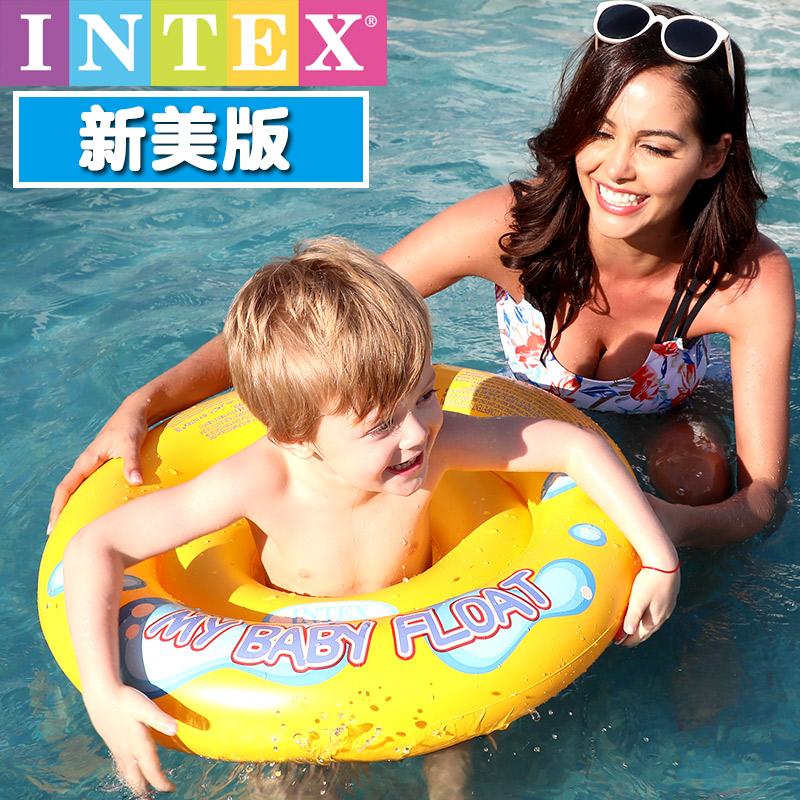 加厚INTEX兒童新生嬰兒游泳圈座圈寶寶坐圈小孩遮陽卡通腋下浮圈