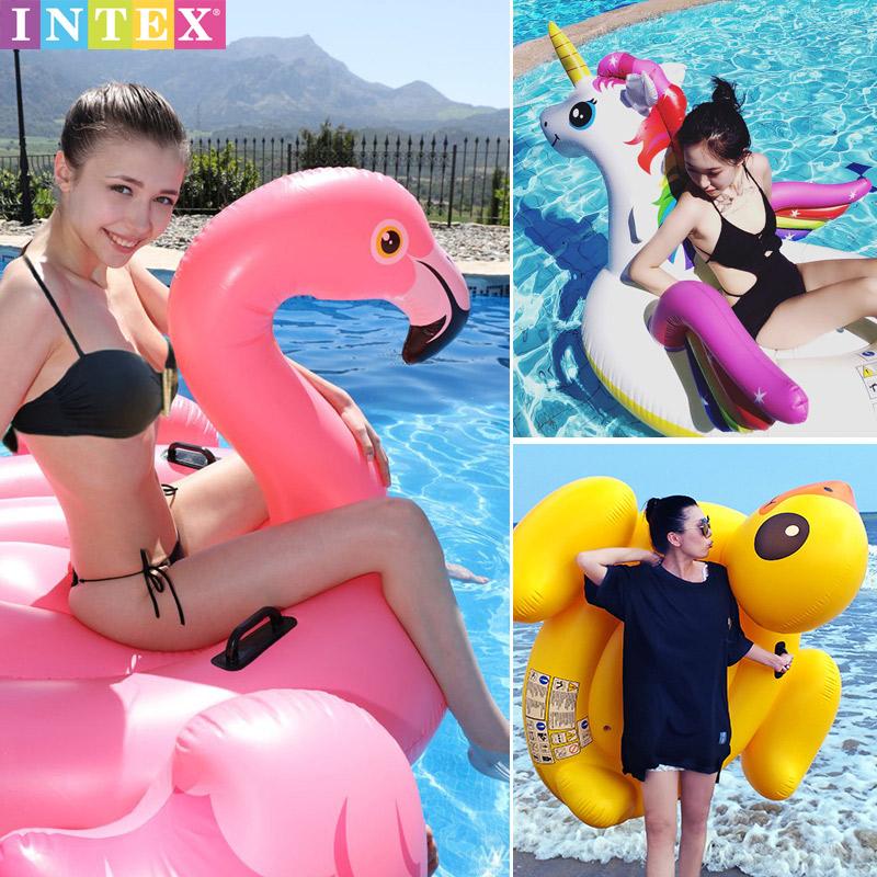 INTEX兒童成人水上充氣玩具動物坐騎獨角獸網紅火烈鳥浮排游泳圈