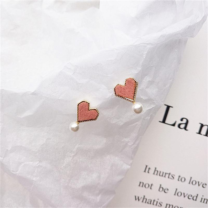 韩国可爱日系少女爱心植绒珍珠耳钉秋冬新款小耳环耳夹耳