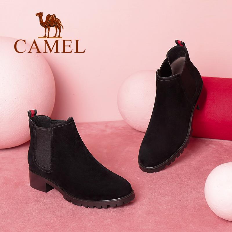 Camel/骆驼女鞋冬季新款 时尚短筒粗跟气质质感淑女简约女靴