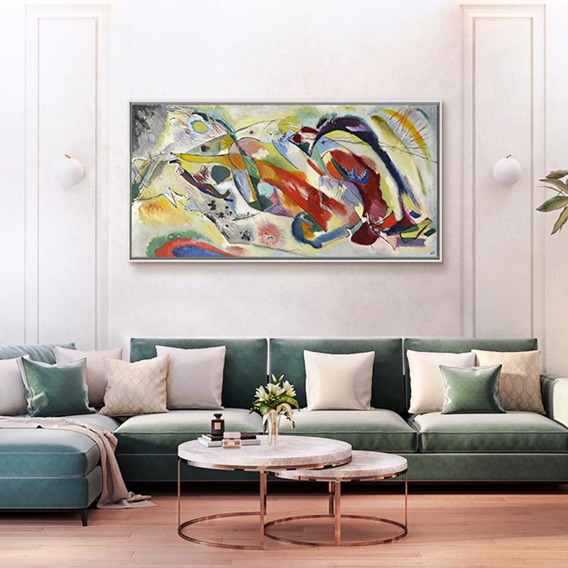 现代简约竖版玄关画 客厅抽象油画装饰画 康定斯基-献给雪佛兰