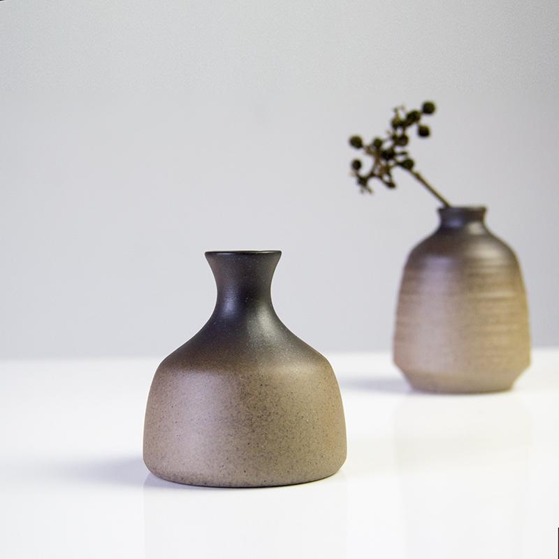 客厅家居摆件 复古黑色釉干花插花器 丑器粗陶花瓶陶瓷装饰品