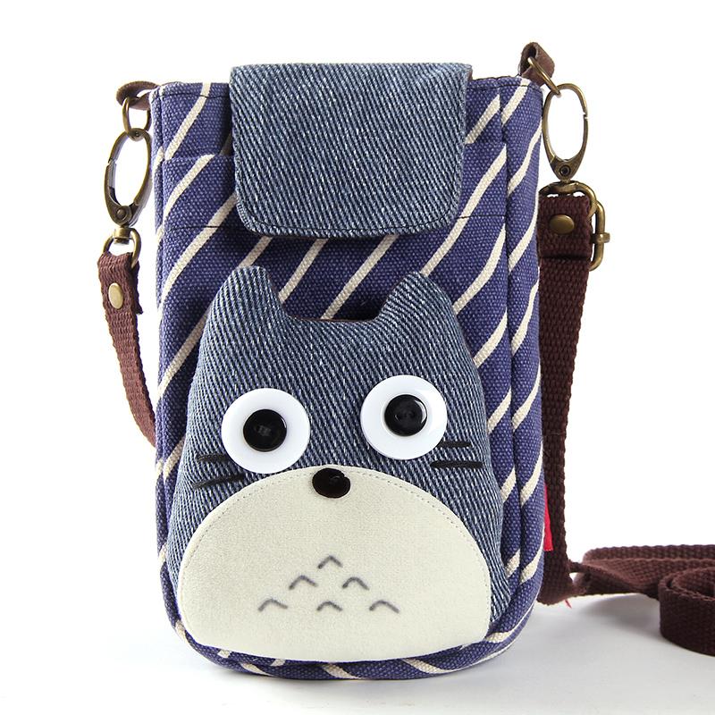 龍貓大屏手機包韓版可愛斜挎手機袋女學生小包帆布卡通迷你零錢包