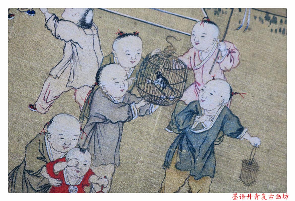 1:1清 冷枚《百子圖》國畫高清藝術微噴復制宣紙材質40X200cm