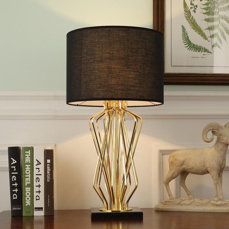 创意简约客厅书房床头护眼金属灯具 LED 北欧卧室后现代大理石台灯