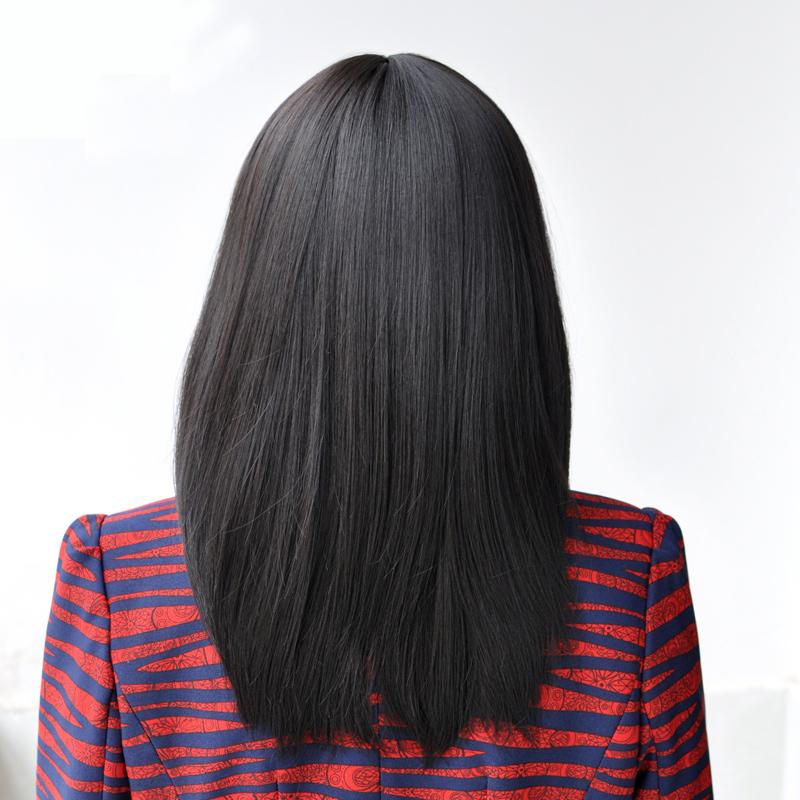 女士中老年假发长直发斜刘海妈妈长发全头套真