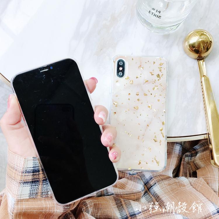 欧美金箔大理石纹苹果X手机壳iphone7plus/8/6S全包软壳奢华女款
