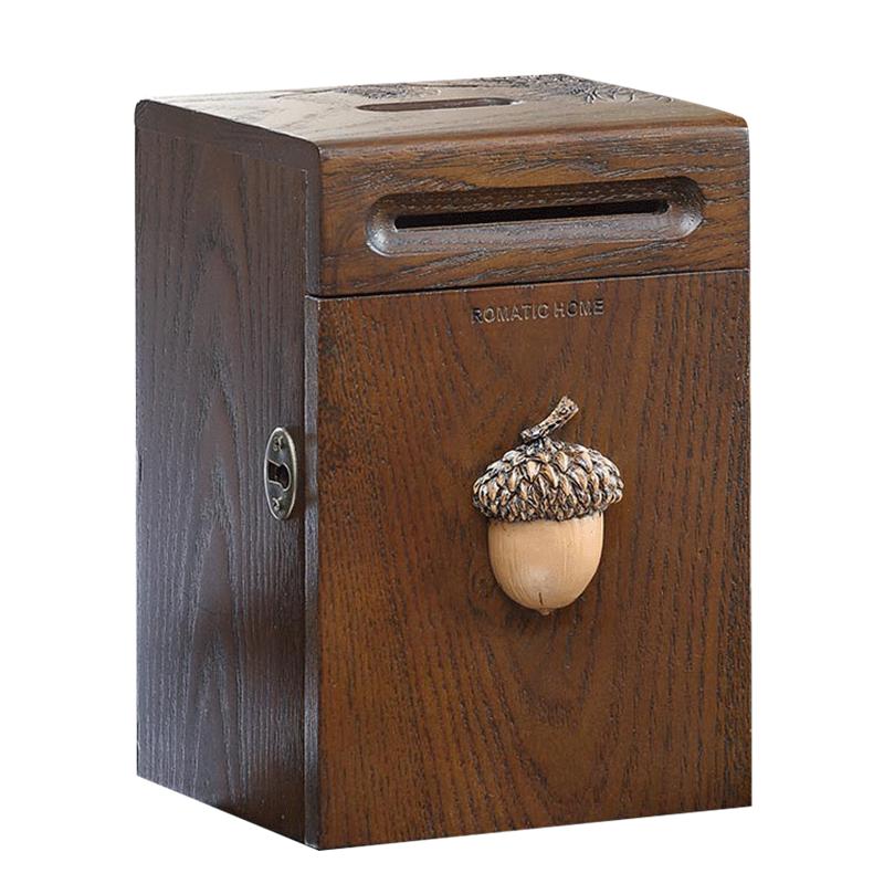 美式创意礼品木质储钱罐超大号存钱罐家居装饰摆件带锁零钱储蓄罐