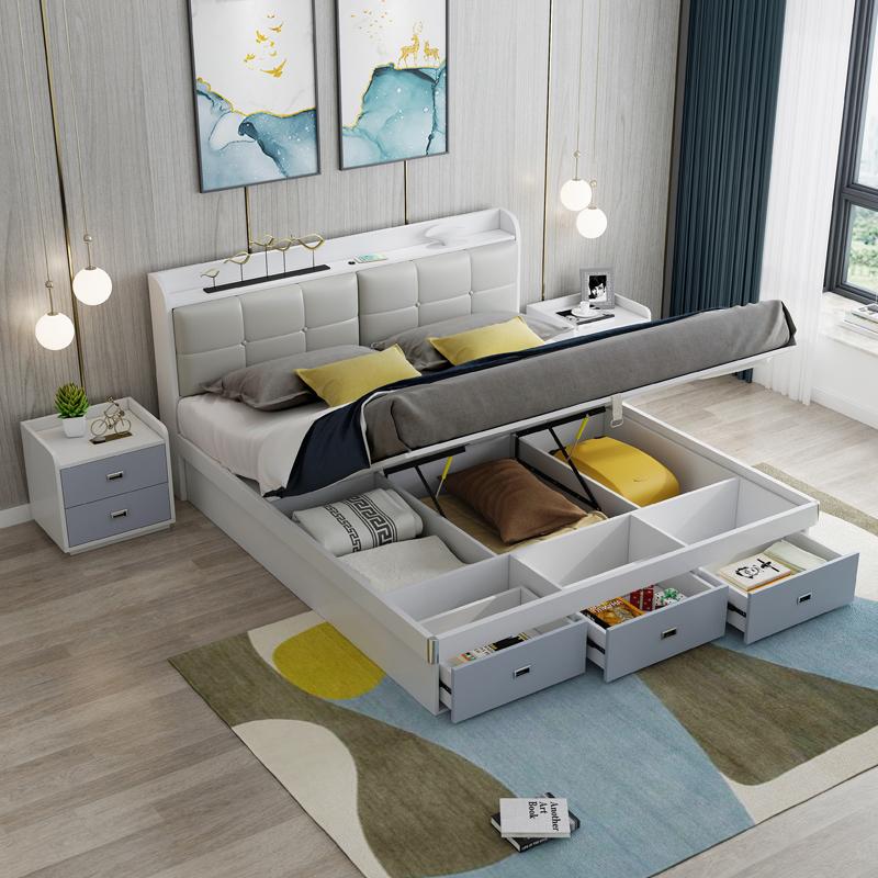 储物床 北欧小户型1.5主卧室1米8收纳高箱双人床一米五现代简约床