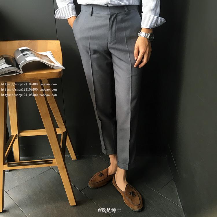 西裤男春夏修身大码小脚韩版百搭黑色九分裤免烫青年复古休闲西裤
