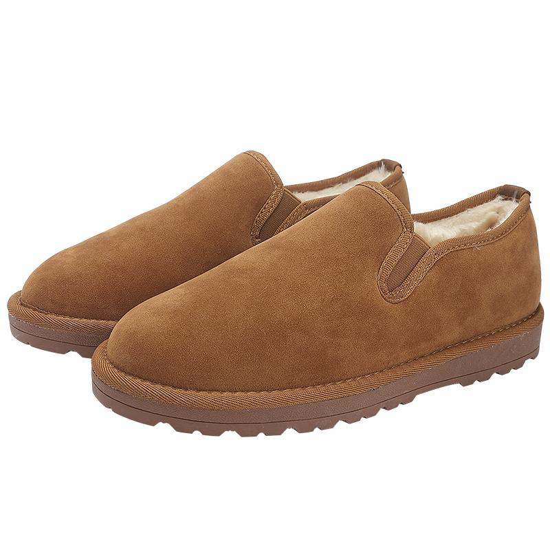 低帮雪地靴男冬季加绒保暖一脚蹬懒人棉鞋防滑中国风面包鞋百搭潮