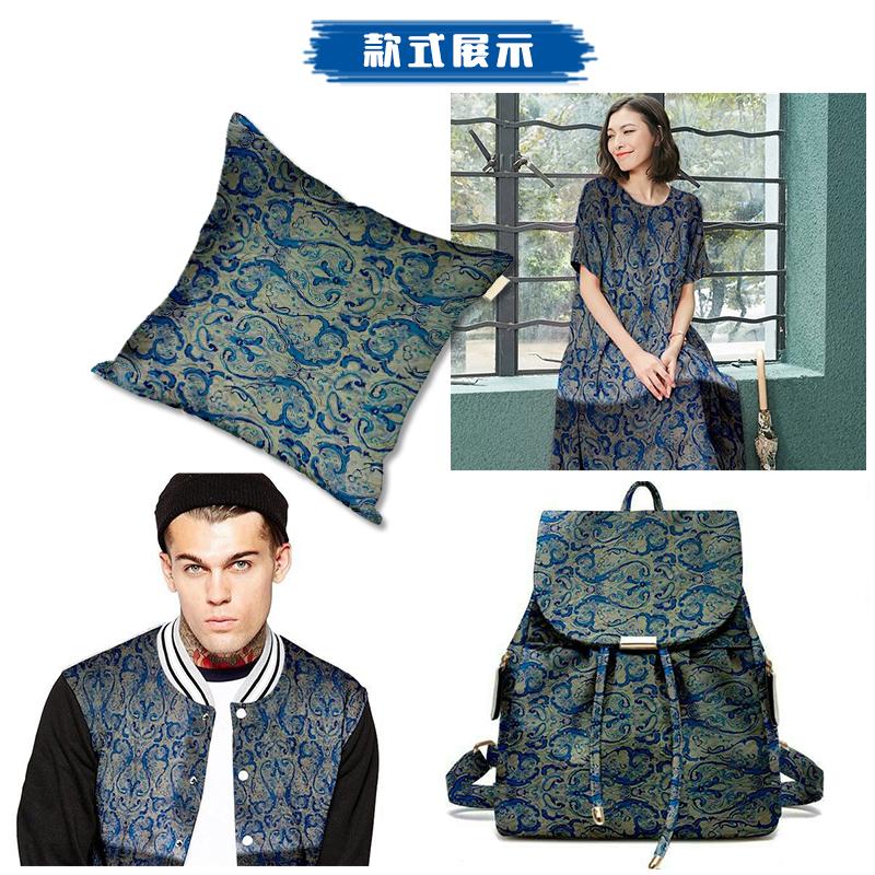 秋季中国风民族风弹力纯棉贡缎面料高档连衣裙旗袍服装印花布料