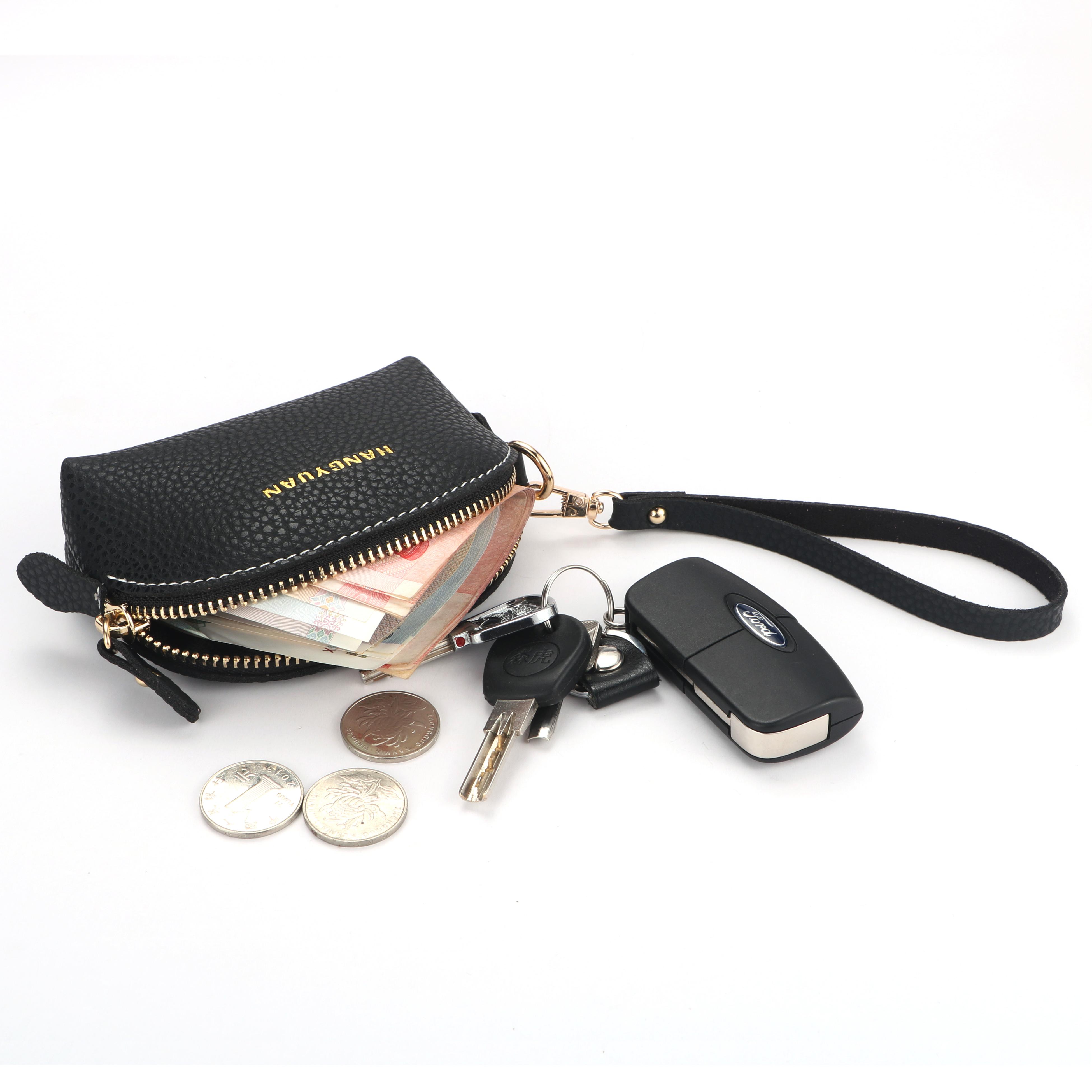 航媛韩版PU超纤皮迷你零钱包女手腕带小包硬币包拉链钥匙包手拿包