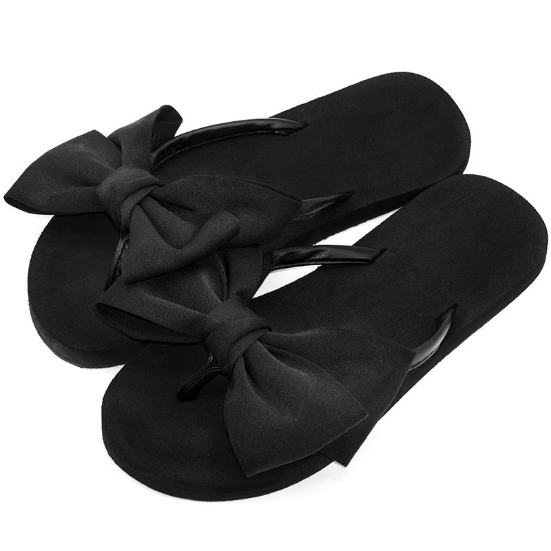 沙滩鞋女夏蝴蝶结拖鞋海边凉拖度假韩版平跟坡跟厚底防滑人字拖女